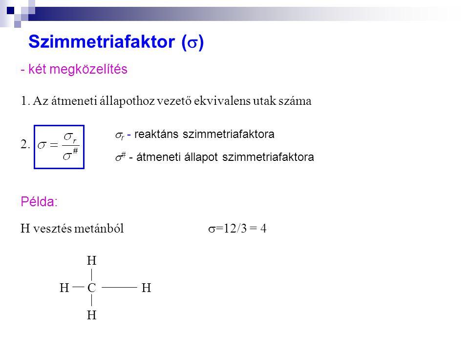 Szimmetriafaktor (  ) - két megközelítés 1. Az átmeneti állapothoz vezető ekvivalens utak száma 2. Példa: H vesztés metánból  =12/3 = 4  r - reaktá