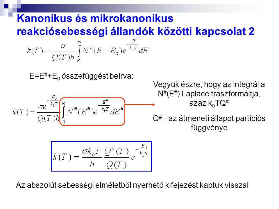 Kanonikus és mikrokanonikus reakciósebességi állandók közötti kapcsolat 2 E=E # +E 0 összefüggést beírva: Vegyük észre, hogy az integrál a N # (E # ) Laplace traszformáltja, azaz k b TQ # Q # - az átmeneti állapot partíciós függvénye Az abszolút sebességi elméletből nyerhető kifejezést kaptuk vissza!