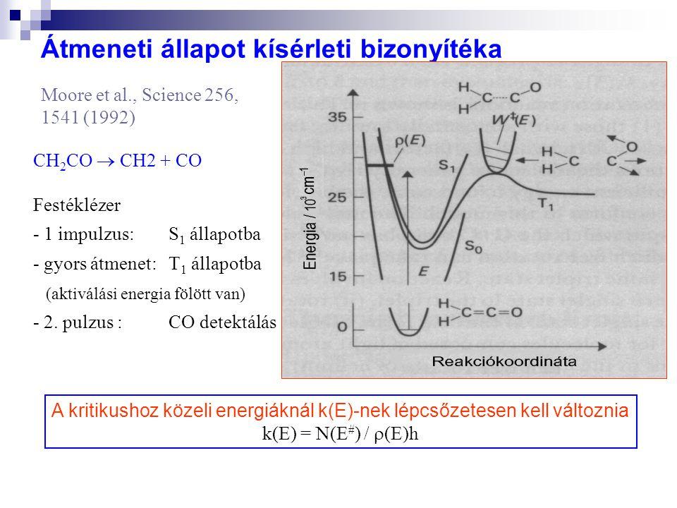 Átmeneti állapot kísérleti bizonyítéka Moore et al., Science 256, 1541 (1992) CH 2 CO  CH2 + CO Festéklézer - 1 impulzus: S 1 állapotba - gyors átmenet: T 1 állapotba (aktiválási energia fölött van) - 2.