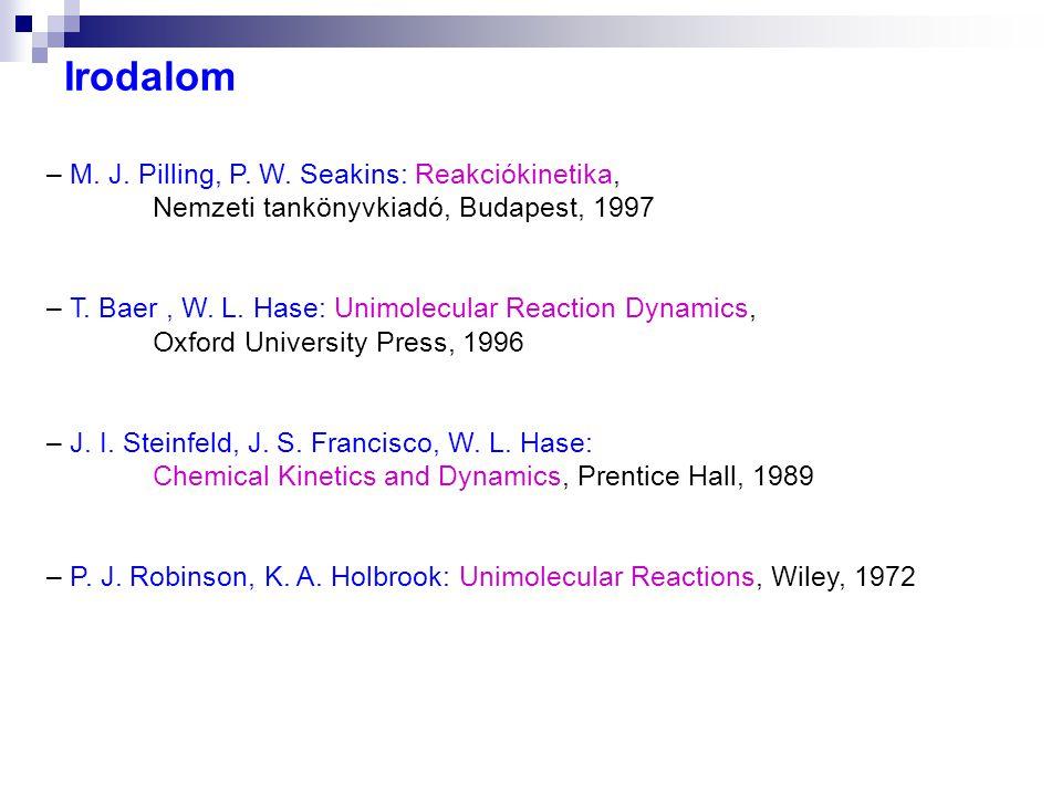Irodalom – M. J. Pilling, P. W. Seakins: Reakciókinetika, Nemzeti tankönyvkiadó, Budapest, 1997 – T. Baer, W. L. Hase: Unimolecular Reaction Dynamics,