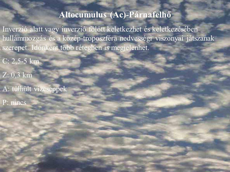 Altocumulus (Ac)-Párnafelhő Inverzió alatt vagy inverzió fölött keletkezhet és keletkezésében hullámmozgás és a közép-troposzféra nedvességi viszonyai