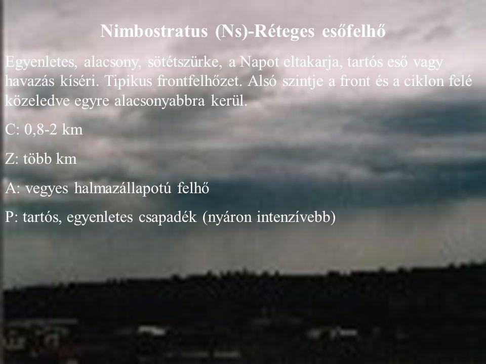 Nimbostratus (Ns)-Réteges esőfelhő Egyenletes, alacsony, sötétszürke, a Napot eltakarja, tartós eső vagy havazás kíséri. Tipikus frontfelhőzet. Alsó s