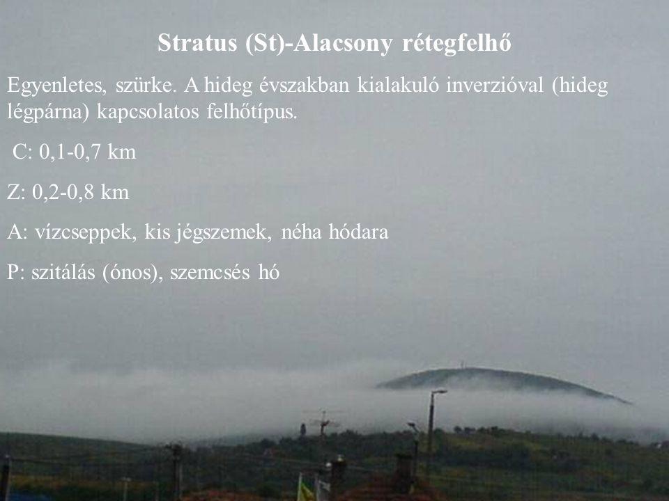 Stratus (St)-Alacsony rétegfelhő Egyenletes, szürke. A hideg évszakban kialakuló inverzióval (hideg légpárna) kapcsolatos felhőtípus. C: 0,1-0,7 km Z: