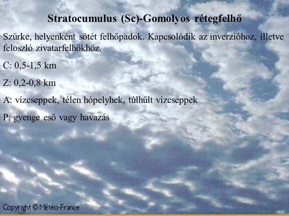 Stratocumulus (Sc)-Gomolyos rétegfelhő Szürke, helyenként sötét felhőpadok. Kapcsolódik az inverzióhoz, illetve feloszló zivatarfelhőkhöz. C: 0,5-1,5