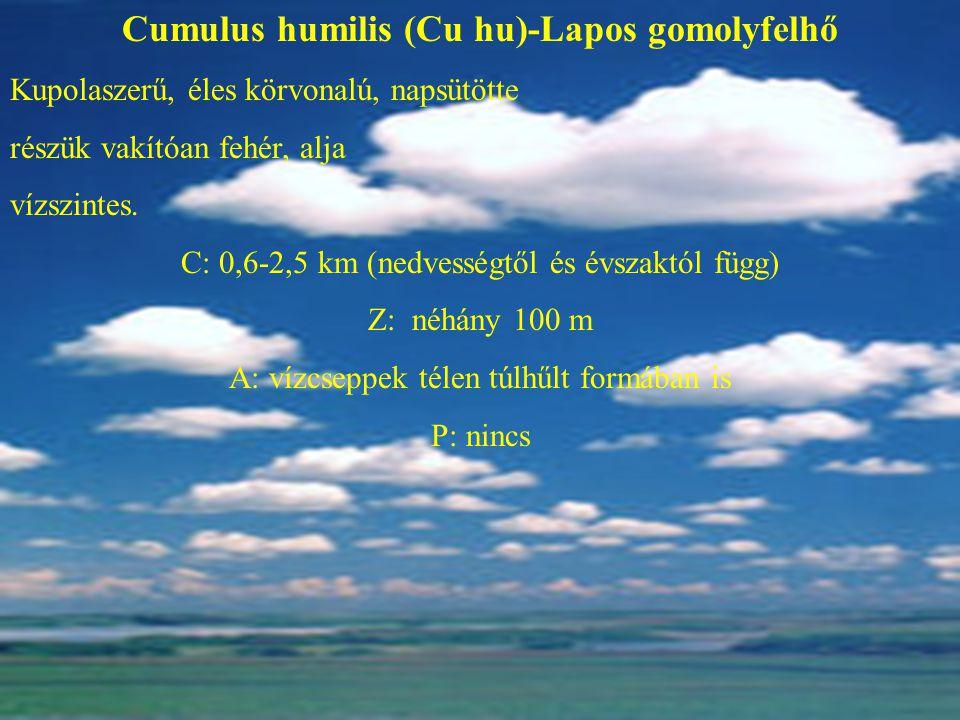 Cumulus humilis (Cu hu)-Lapos gomolyfelhő Kupolaszerű, éles körvonalú, napsütötte részük vakítóan fehér, alja vízszintes. C: 0,6-2,5 km (nedvességtől