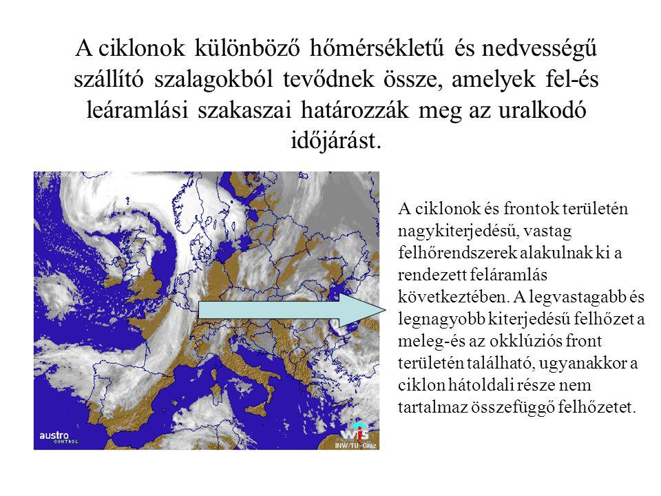 A ciklonok és frontok területén nagykiterjedésű, vastag felhőrendszerek alakulnak ki a rendezett feláramlás következtében. A legvastagabb és legnagyob