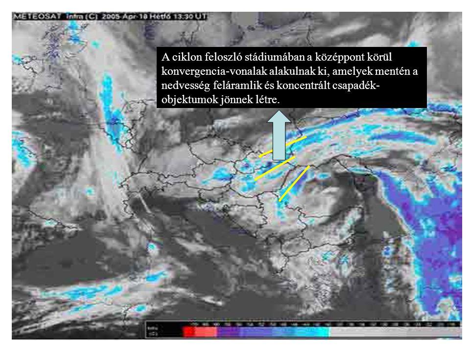 A ciklon feloszló stádiumában a középpont körül konvergencia-vonalak alakulnak ki, amelyek mentén a nedvesség feláramlik és koncentrált csapadék- obje