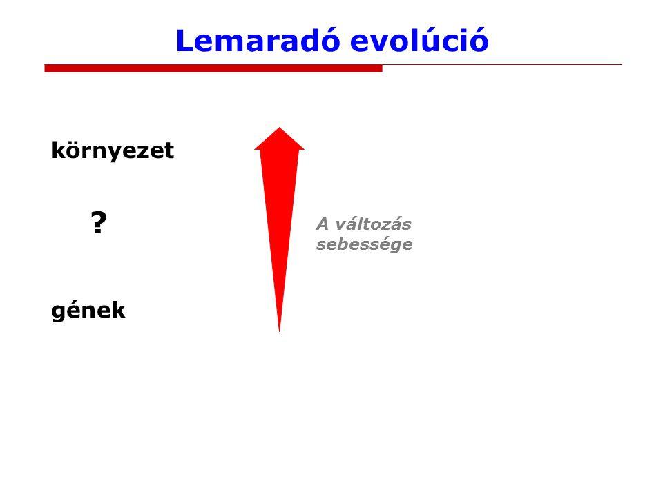Lemaradó evolúció környezet gének A változás sebessége ?