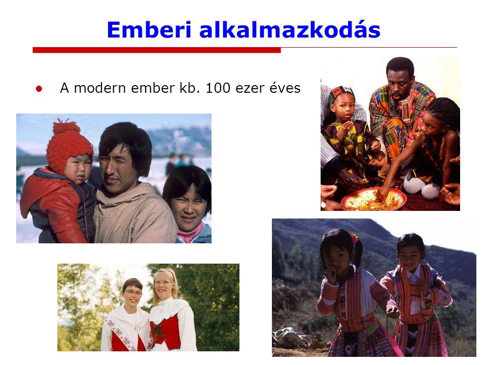 Emberi alkalmazkodás A modern ember kb. 100 ezer éves