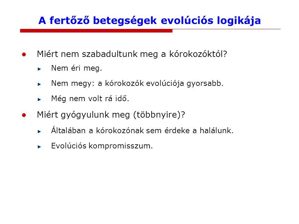 A fertőző betegségek evolúciós logikája Miért nem szabadultunk meg a kórokozóktól? Nem éri meg. Nem megy: a kórokozók evolúciója gyorsabb. Még nem vol