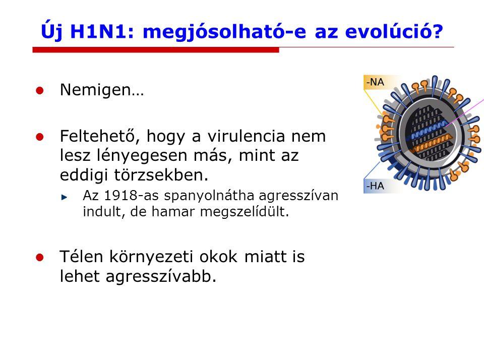 Új H1N1: megjósolható-e az evolúció? Nemigen… Feltehető, hogy a virulencia nem lesz lényegesen más, mint az eddigi törzsekben. Az 1918-as spanyolnátha