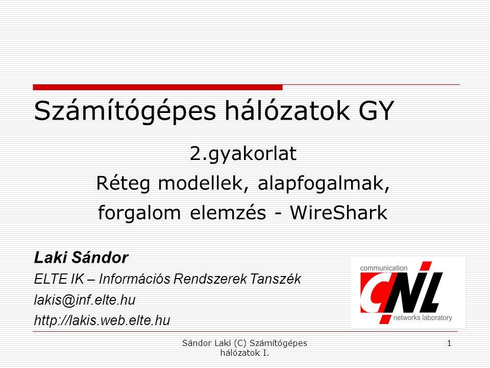 Sándor Laki (C) Számítógépes hálózatok I. 1 Számítógépes hálózatok GY 2.gyakorlat Réteg modellek, alapfogalmak, forgalom elemzés - WireShark Laki Sánd
