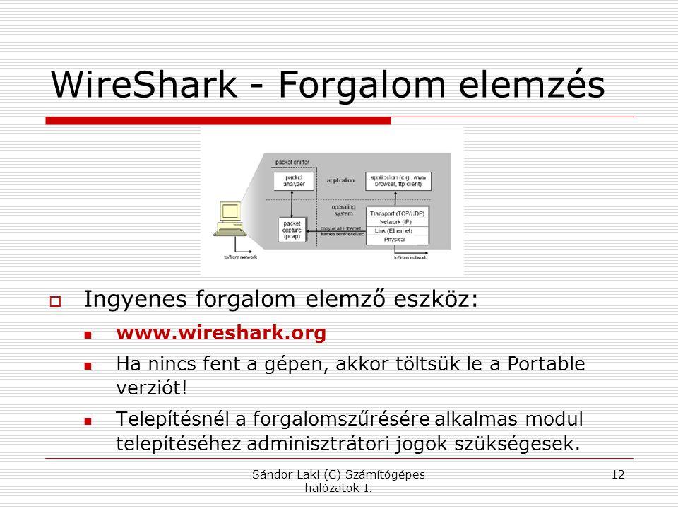 WireShark - Forgalom elemzés  Ingyenes forgalom elemző eszköz: www.wireshark.org Ha nincs fent a gépen, akkor töltsük le a Portable verziót! Telepíté