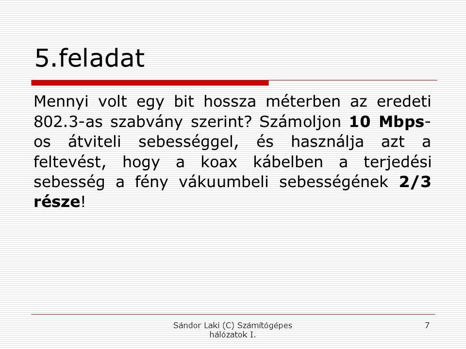 Példák:  tcp.dstport==25  tcp.flags  tcp.flags.syn==1  http contains js.yimg.com Sándor Laki (C) Számítógépes hálózatok I.