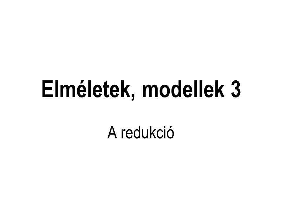 Elméletek, modellek 3 A redukció