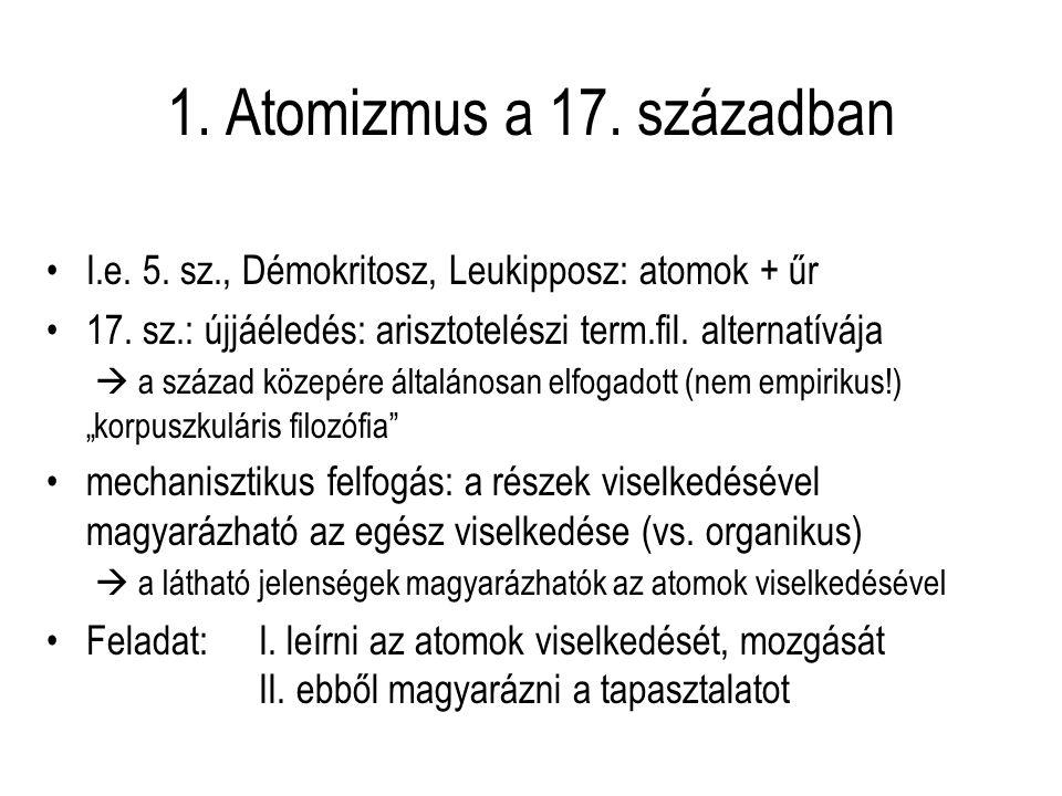 1.Atomizmus a 17. században I.e. 5. sz., Démokritosz, Leukipposz: atomok + űr 17.
