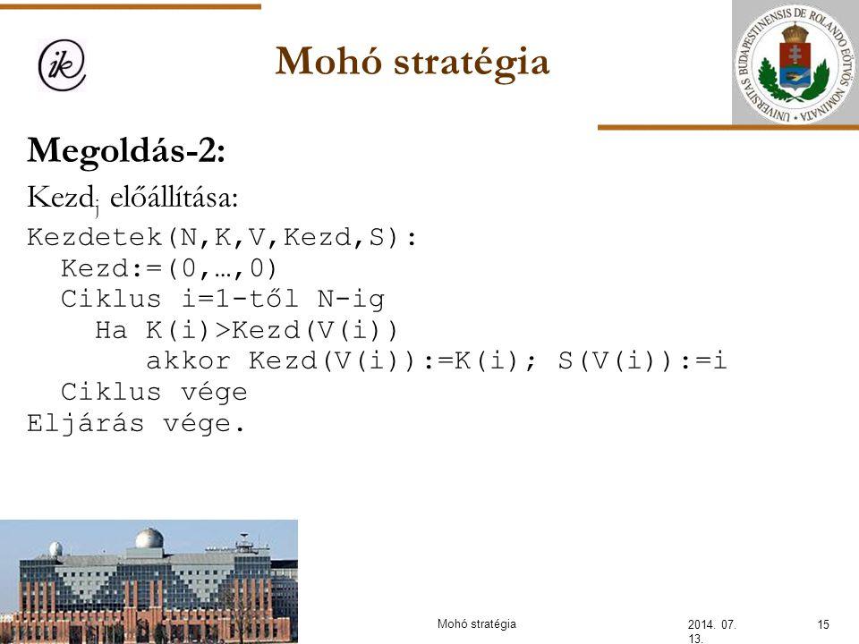 Mohó stratégia 2014. 07. 13. 15Mohó stratégia Megoldás-2: Kezd j előállítása: Kezdetek(N,K,V,Kezd,S): Kezd:=(0,…,0) Ciklus i=1-től N-ig Ha K(i)>Kezd(V