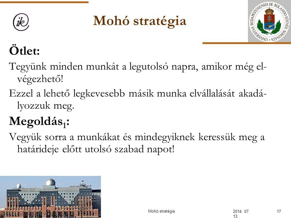 Mohó stratégia 2014. 07. 13. 17Mohó stratégia Ötlet: Tegyünk minden munkát a legutolsó napra, amikor még el- végezhető! Ezzel a lehető legkevesebb más