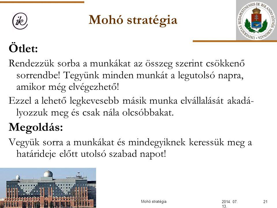 Mohó stratégia 2014. 07. 13. 21Mohó stratégia Ötlet: Rendezzük sorba a munkákat az összeg szerint csökkenő sorrendbe! Tegyünk minden munkát a legutols