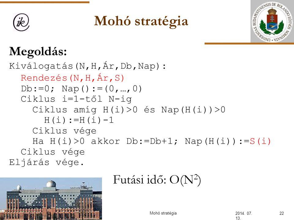 Mohó stratégia 2014. 07. 13. 22Mohó stratégia Megoldás: Kiválogatás(N,H,Ár,Db,Nap): Rendezés(N,H,Ár,S) Db:=0; Nap():=(0,…,0) Ciklus i=1-től N-ig Ciklu