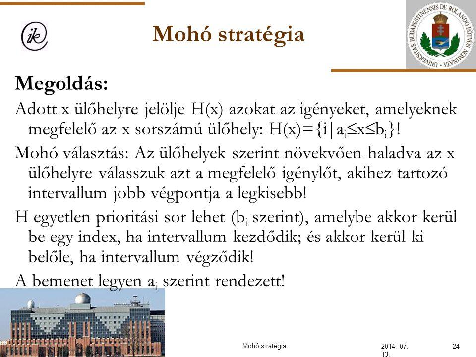 Mohó stratégia 2014. 07. 13. 24Mohó stratégia Megoldás: Adott x ülőhelyre jelölje H(x) azokat az igényeket, amelyeknek megfelelő az x sorszámú ülőhely
