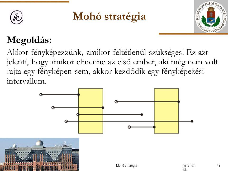 Mohó stratégia 2014. 07. 13. 31Mohó stratégia Megoldás: Akkor fényképezzünk, amikor feltétlenül szükséges! Ez azt jelenti, hogy amikor elmenne az első