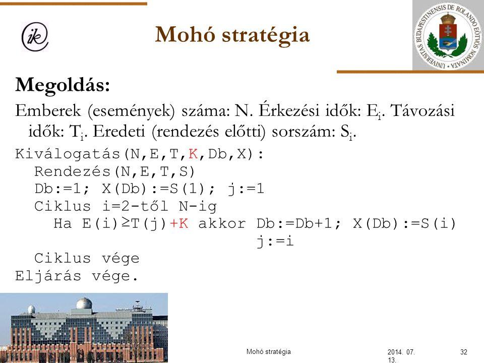 Mohó stratégia 2014. 07. 13. 32Mohó stratégia Megoldás: Emberek (események) száma: N. Érkezési idők: E i. Távozási idők: T i. Eredeti (rendezés előtti