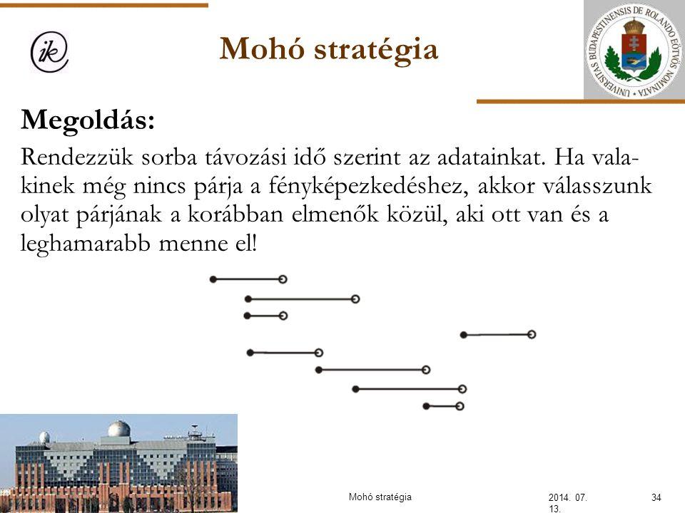 Mohó stratégia 2014. 07. 13. 34Mohó stratégia Megoldás: Rendezzük sorba távozási idő szerint az adatainkat. Ha vala- kinek még nincs párja a fényképez