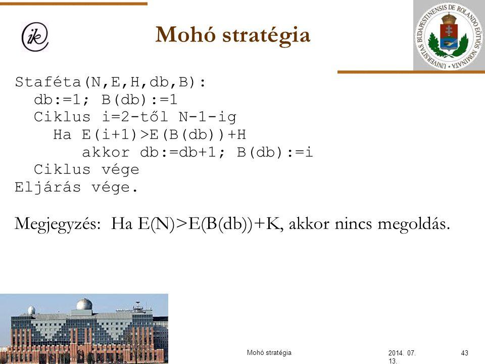 Mohó stratégia 2014. 07. 13. 43Mohó stratégia Staféta(N,E,H,db,B): db:=1; B(db):=1 Ciklus i=2-től N-1-ig Ha E(i+1)>E(B(db))+H akkor db:=db+1; B(db):=i