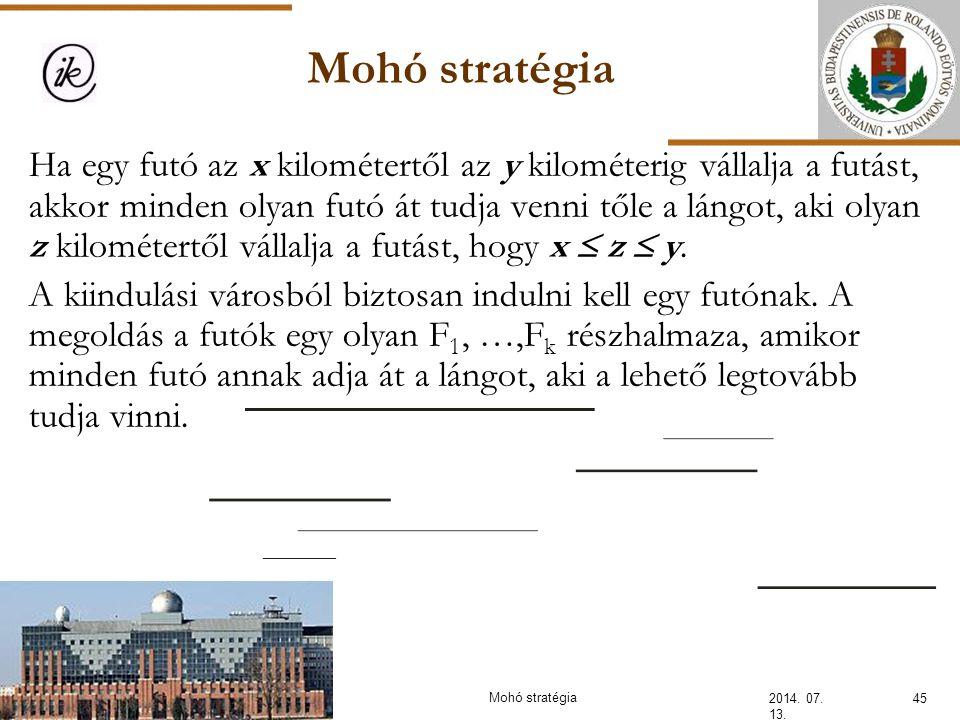 Mohó stratégia 2014. 07. 13. 45Mohó stratégia Ha egy futó az x kilométertől az y kilométerig vállalja a futást, akkor minden olyan futó át tudja venni
