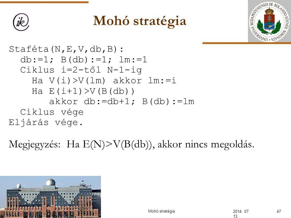 Mohó stratégia 2014. 07. 13. 47Mohó stratégia Staféta(N,E,V,db,B): db:=1; B(db):=1; lm:=1 Ciklus i=2-től N-1-ig Ha V(i)>V(lm) akkor lm:=i Ha E(i+1)>V(
