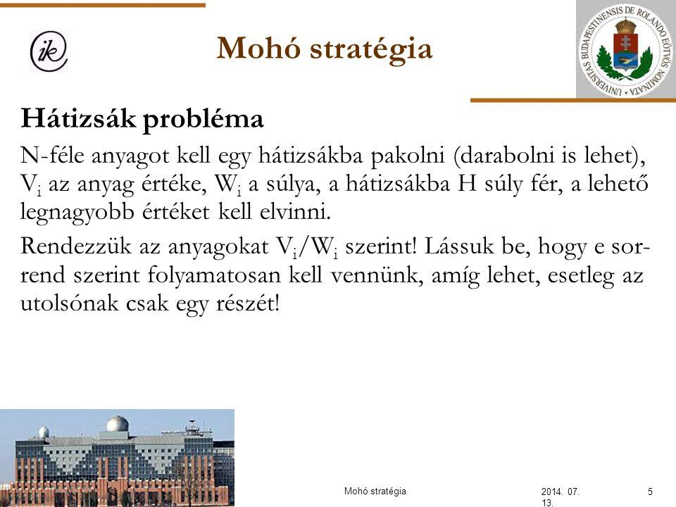 Mohó stratégia 2014.07. 13. 16Mohó stratégia Feladat: Egy vállalkozó 1 napos munkákat vállal.