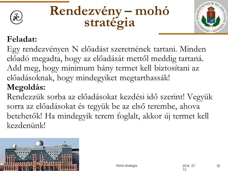 Rendezvény – mohó stratégia 2014. 07. 13. 52Mohó stratégia Feladat: Egy rendezvényen N előadást szeretnének tartani. Minden előadó megadta, hogy az el