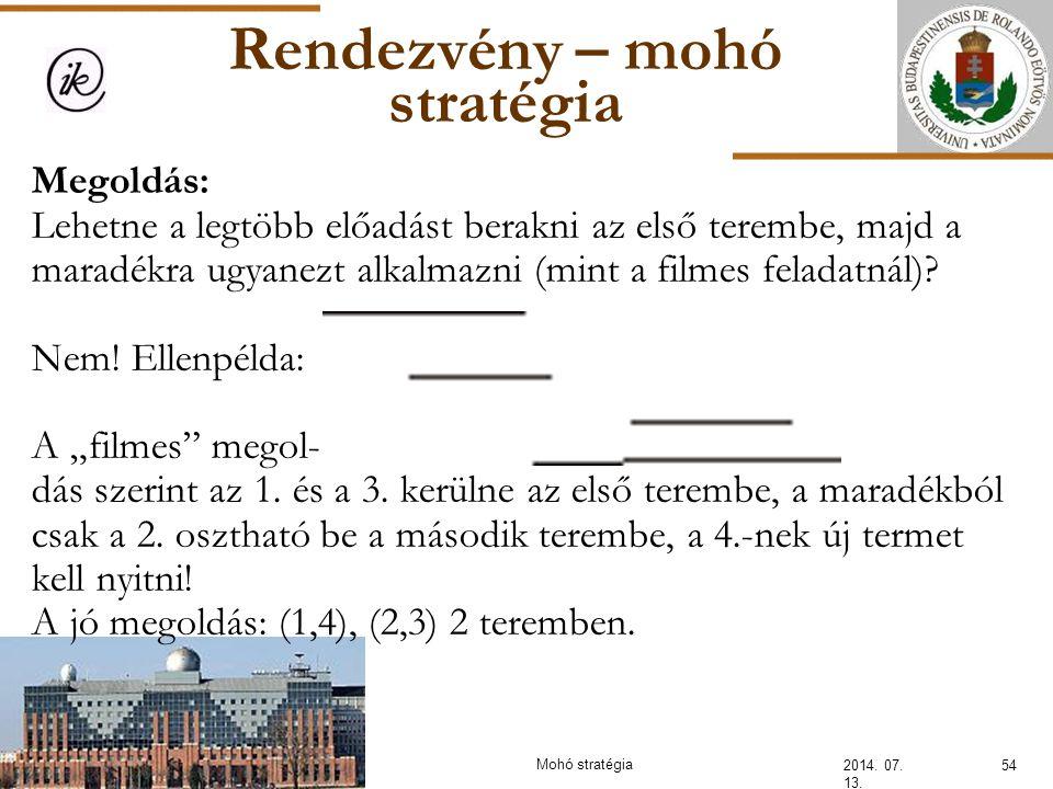 Rendezvény – mohó stratégia 2014. 07. 13. 54Mohó stratégia Megoldás: Lehetne a legtöbb előadást berakni az első terembe, majd a maradékra ugyanezt alk