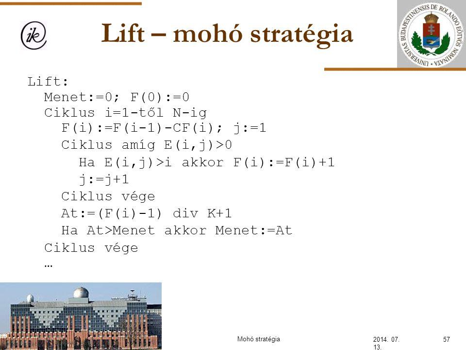 Lift – mohó stratégia 2014. 07. 13. Lift: Menet:=0; F(0):=0 Ciklus i=1-től N-ig F(i):=F(i-1)-CF(i); j:=1 Ciklus amíg E(i,j)>0 Ha E(i,j)>i akkor F(i):=