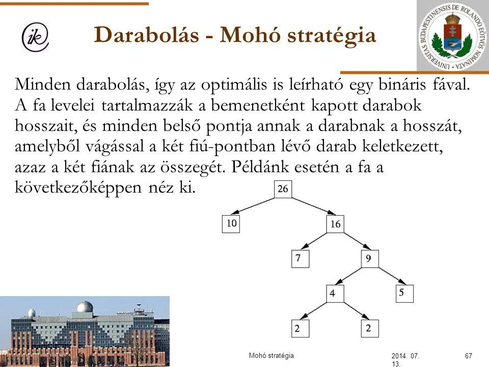 Darabolás - Mohó stratégia 2014. 07. 13. 67Mohó stratégia Minden darabolás, így az optimális is leírható egy bináris fával. A fa levelei tartalmazzák