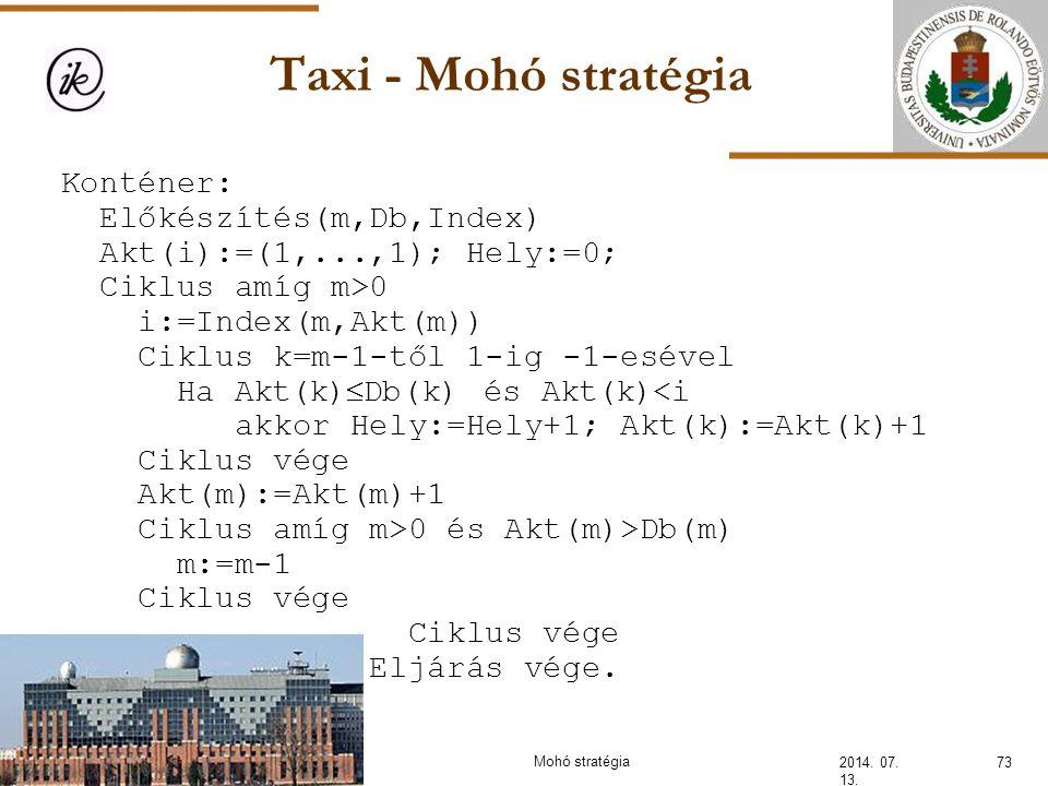 Taxi - Mohó stratégia 2014. 07. 13. Konténer: Előkészítés(m,Db,Index) Akt(i):=(1,...,1); Hely:=0; Ciklus amíg m>0 i:=Index(m,Akt(m)) Ciklus k=m-1-től