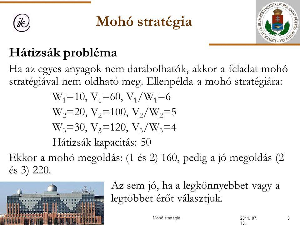 Mohó stratégia 2014. 07. 13. 8 Hátizsák probléma Ha az egyes anyagok nem darabolhatók, akkor a feladat mohó stratégiával nem oldható meg. Ellenpélda a