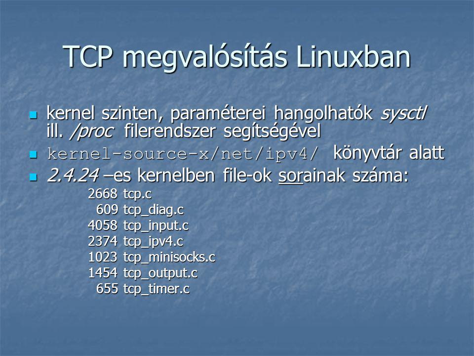 TCP megvalósítás Linuxban kernel szinten, paraméterei hangolhatók sysctl ill. /proc filerendszer segítségével kernel szinten, paraméterei hangolhatók