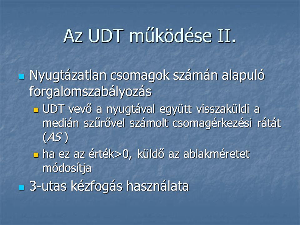 Az UDT működése II. Nyugtázatlan csomagok számán alapuló forgalomszabályozás Nyugtázatlan csomagok számán alapuló forgalomszabályozás UDT vevő a nyugt