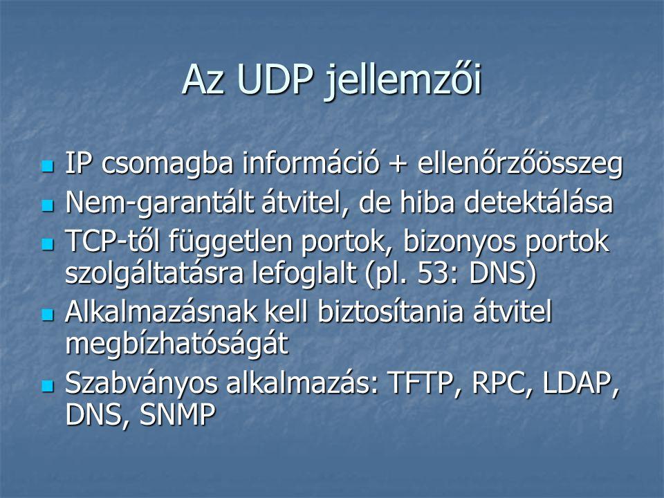Az UDP jellemzői IP csomagba információ + ellenőrzőösszeg IP csomagba információ + ellenőrzőösszeg Nem-garantált átvitel, de hiba detektálása Nem-gara