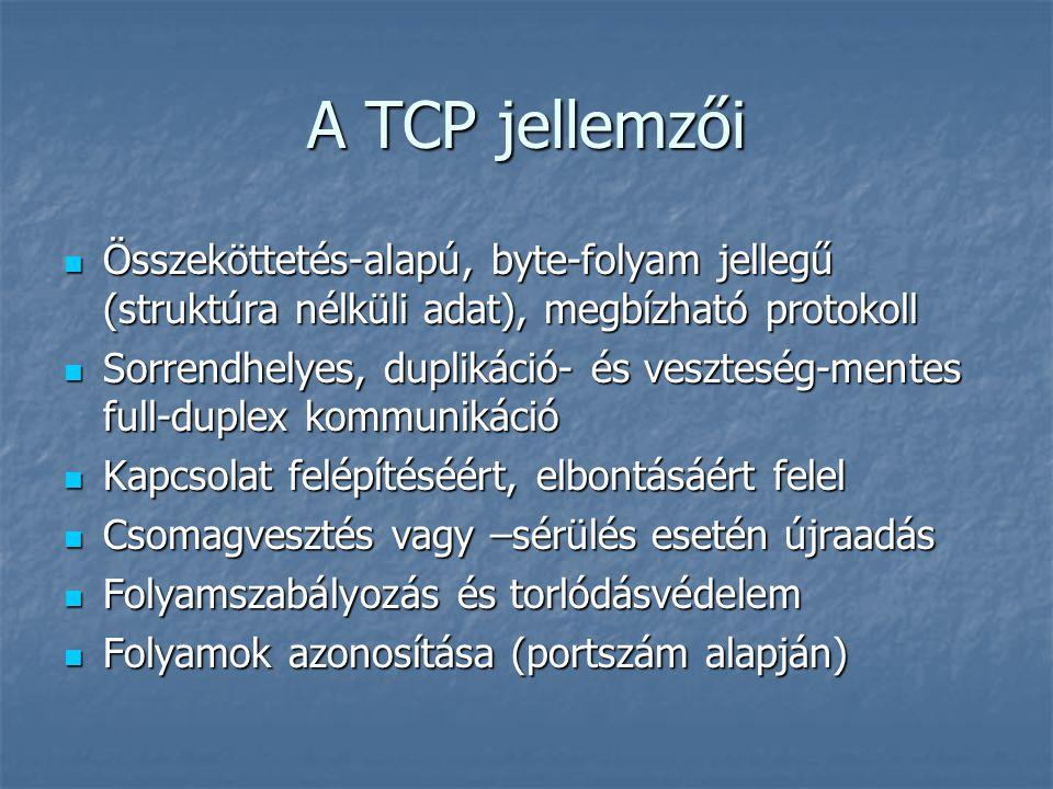 A TCP jellemzői Összeköttetés-alapú, byte-folyam jellegű (struktúra nélküli adat), megbízható protokoll Összeköttetés-alapú, byte-folyam jellegű (stru