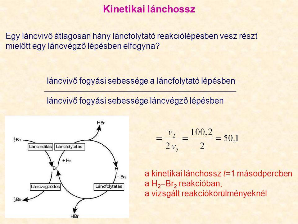 Kinetikai lánchossz Egy láncvivő átlagosan hány láncfolytató reakciólépésben vesz részt mielőtt egy láncvégző lépésben elfogyna.