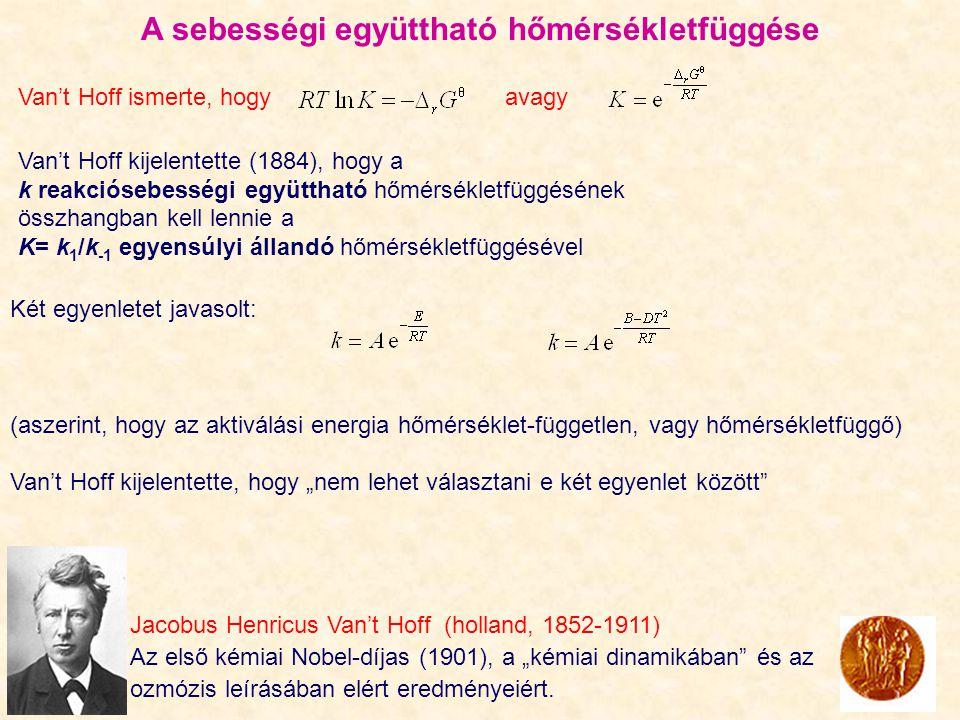"""A sebességi együttható hőmérsékletfüggése Jacobus Henricus Van't Hoff (holland, 1852-1911) Az első kémiai Nobel-díjas (1901), a """"kémiai dinamikában és az ozmózis leírásában elért eredményeiért."""