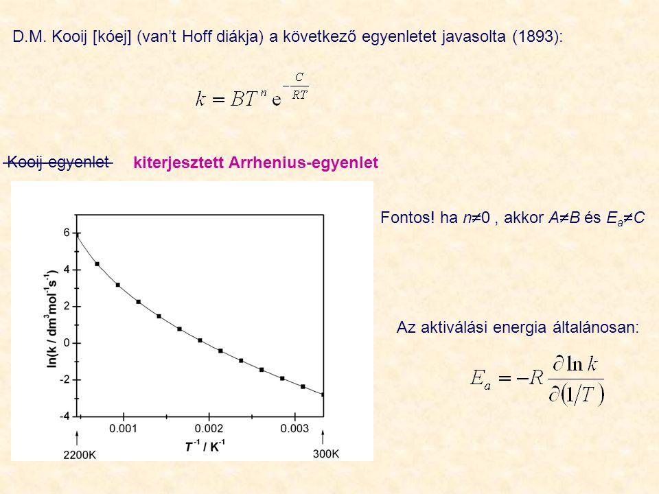 D.M. Kooij [kóej] (van't Hoff diákja) a következő egyenletet javasolta (1893): Kooij-egyenlet kiterjesztett Arrhenius-egyenlet __________ Fontos! ha n