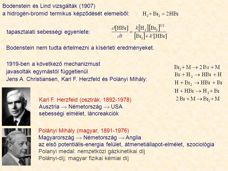Bodenstein és Lind vizsgálták (1907) a hidrogén ‑ bromid termikus képződését elemeiből: Karl F.