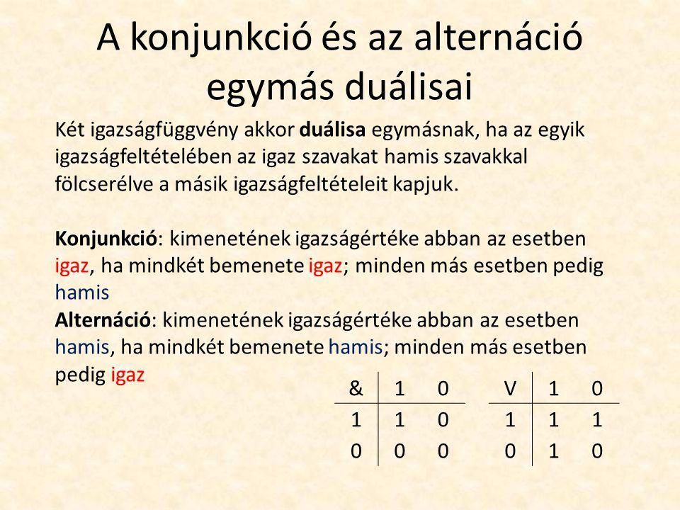 A konjunkció és az alternáció egymás duálisai Két igazságfüggvény akkor duálisa egymásnak, ha az egyik igazságfeltételében az igaz szavakat hamis szavakkal fölcserélve a másik igazságfeltételeit kapjuk.