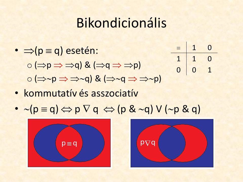 Bikondicionális  (p  q) esetén: o (  p   q) & (  q   p) o (  p   q) & (  q   p) kommutatív és asszociatív  (p  q)  p  q  (p &  q) V (  p & q)  10 110 001