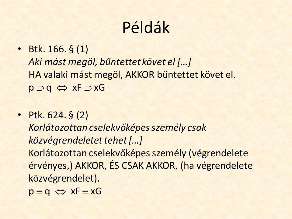 Példák Btk. 166.