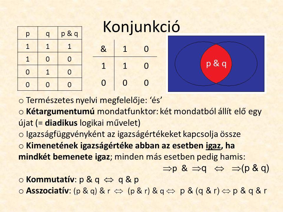 Konjunkció pqp & q 111 100 010 000 &10 110 000 o Természetes nyelvi megfelelője: 'és' o Kétargumentumú mondatfunktor: két mondatból állít elő egy újat (= diadikus logikai művelet) o Igazságfüggvényként az igazságértékeket kapcsolja össze o Kimenetének igazságértéke abban az esetben igaz, ha mindkét bemenete igaz; minden más esetben pedig hamis:  p &  q   (p & q) o Kommutatív: p & q  q & p o Asszociatív: (p & q) & r  (p & r) & q  p & (q & r)  p & q & r